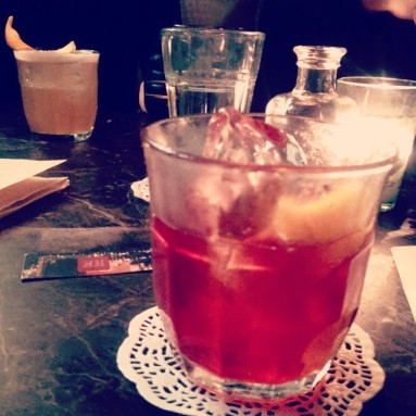 Background: 1948 Sour, Foreground: Sonia's Negroni